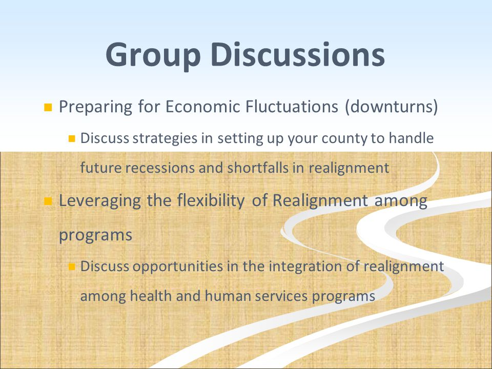 Group Discussions Preparing for Economic Fluctuations (downturns) Discuss strategies in setting up your county to handle future recessions and shortfa