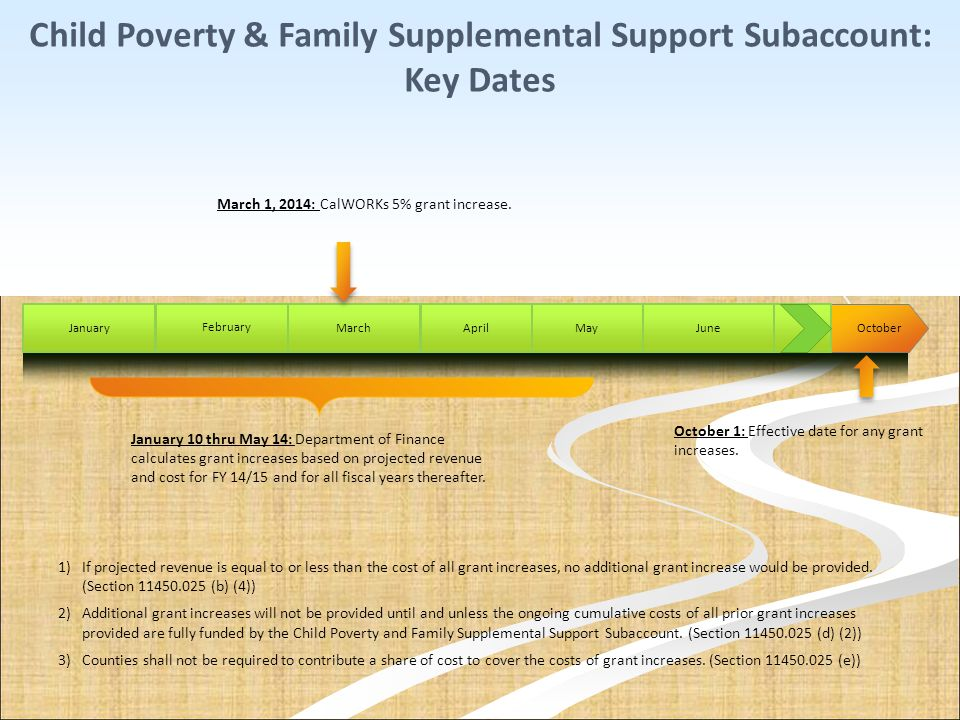 October AprilJuneJanuary February March Child Poverty & Family Supplemental Support Subaccount: Key Dates October 1: Effective date for any grant incr
