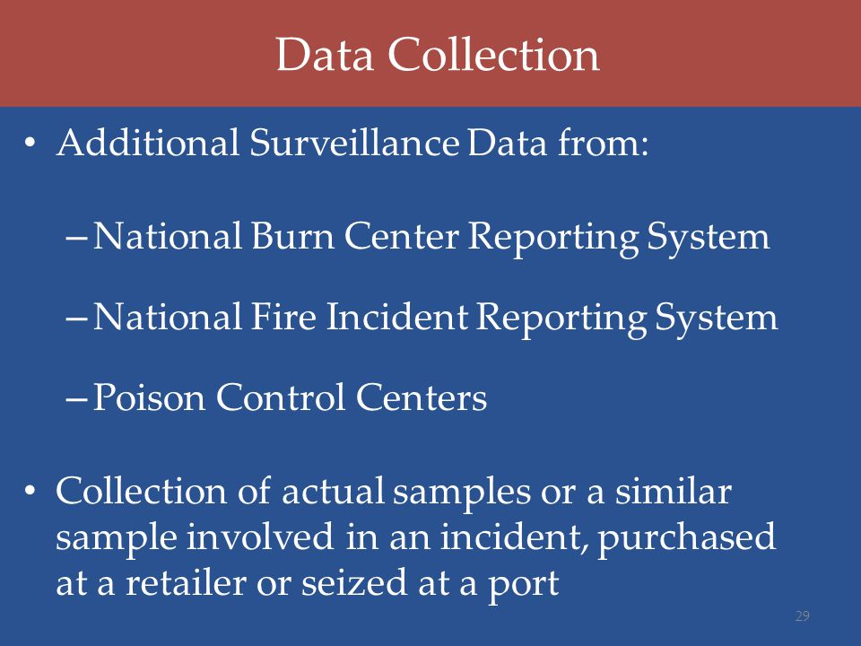 Data Collection Additional Surveillance Data from: – National Burn Center Reporting System – National Fire Incident Reporting System – Poison Control Centers Collection of actual samples or a similar sample involved in an incident, purchased at a retailer or seized at a port 29