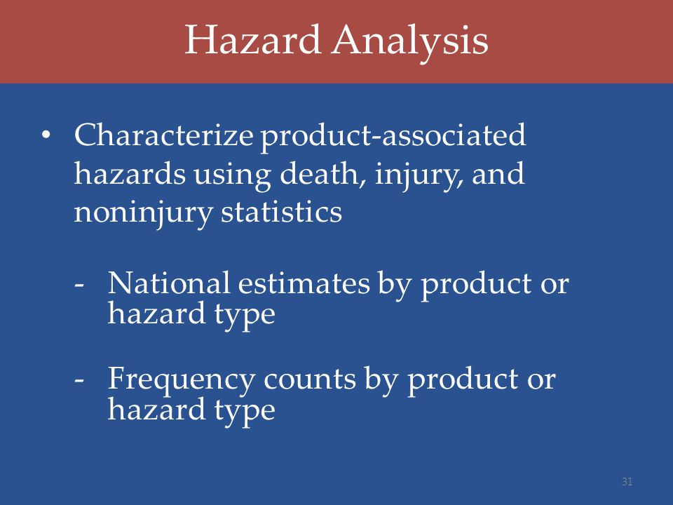 Hazard Analysis Characterize product-associated hazards using death, injury, and noninjury statistics -National estimates by product or hazard type -Frequency counts by product or hazard type 31