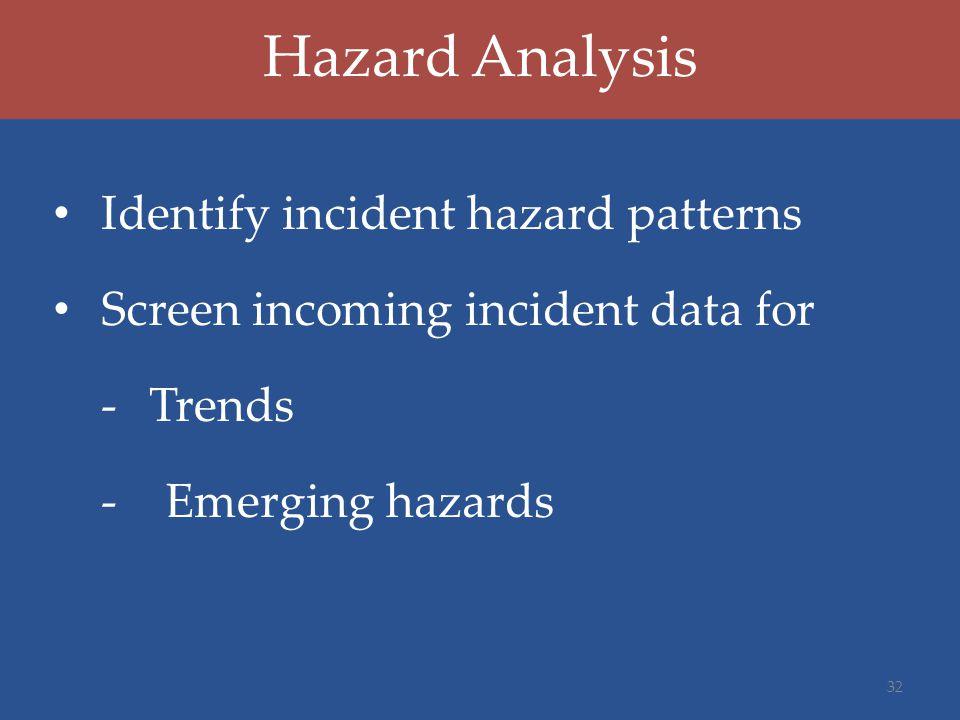 Hazard Analysis Identify incident hazard patterns Screen incoming incident data for -Trends - Emerging hazards 32