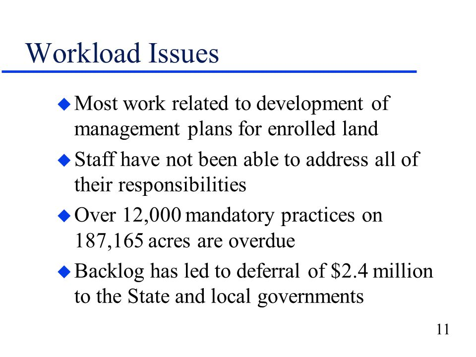 11 Workload Issues u Most work related to development of management plans for enrolled land u Staff have not been able to address all of their respons