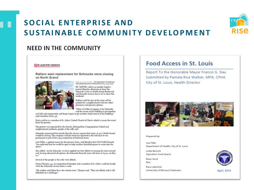 SOCIAL ENTERPRISE AND SUSTAINABLE COMMUNITY DEVELOPMENT NEED IN THE COMMUNITY