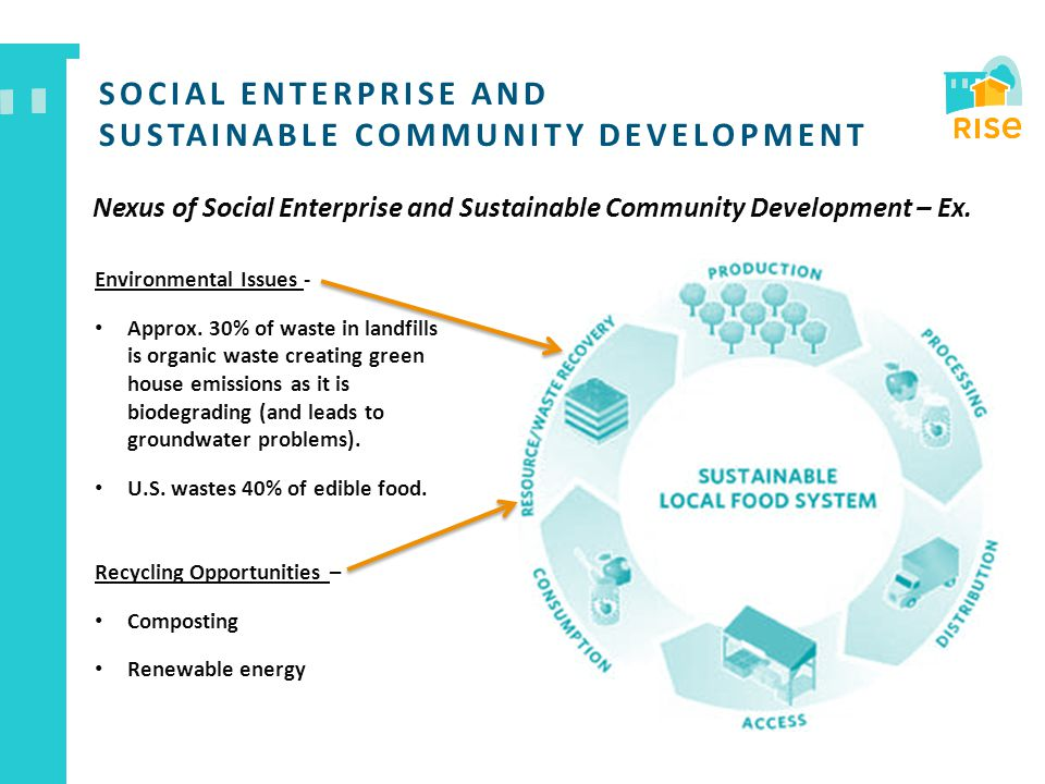 SOCIAL ENTERPRISE AND SUSTAINABLE COMMUNITY DEVELOPMENT Nexus of Social Enterprise and Sustainable Community Development – Ex. Environmental Issues -