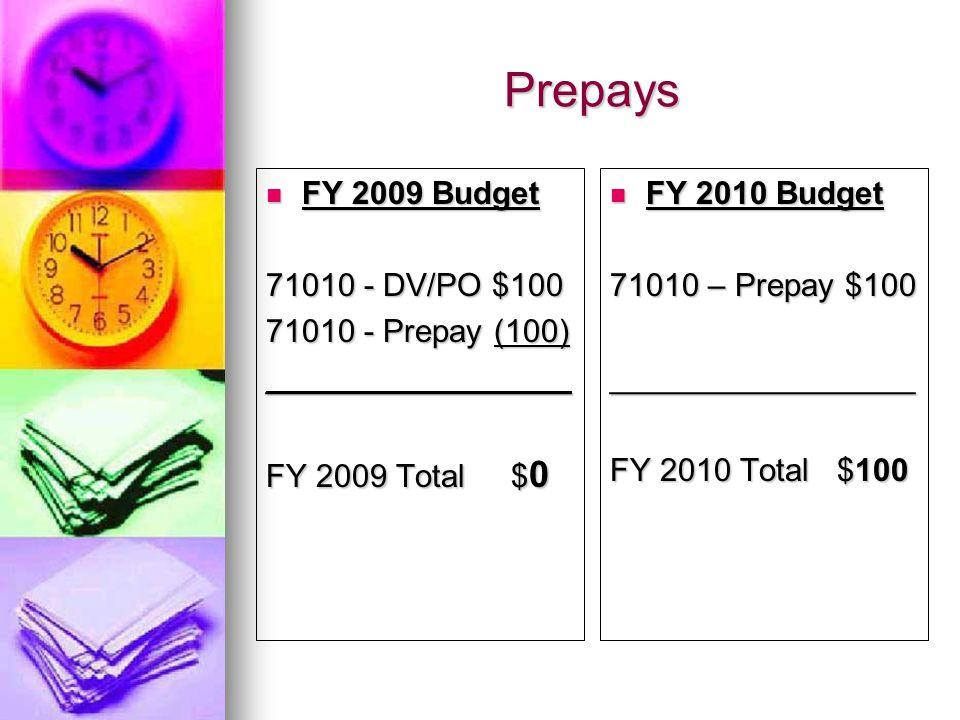 Prepays FY 2009 Budget FY 2009 Budget 71010 - DV/PO $100 71010 - Prepay (100) _________________ FY 2009 Total $ 0 FY 2010 Budget FY 2010 Budget 71010 – Prepay $100 _________________ FY 2010 Total $100