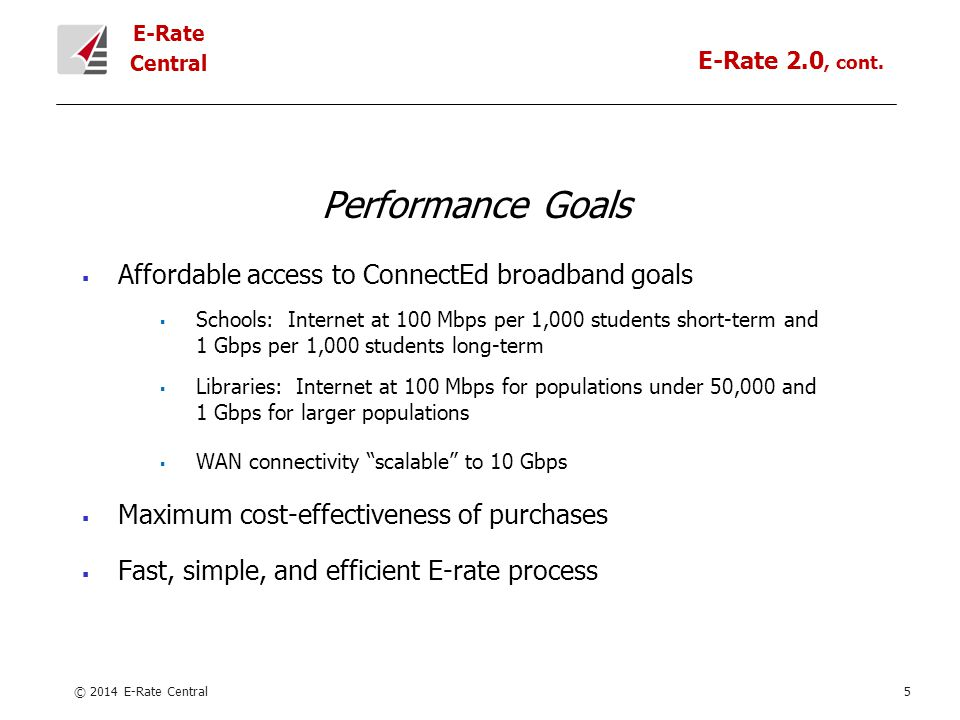 E-Rate Central Performance Goals  Affordable access to ConnectEd broadband goals  Schools: Internet at 100 Mbps per 1,000 students short-term and 1 Gbps per 1,000 students long-term  Libraries: Internet at 100 Mbps for populations under 50,000 and 1 Gbps for larger populations  WAN connectivity scalable to 10 Gbps  Maximum cost-effectiveness of purchases  Fast, simple, and efficient E-rate process © 2014 E-Rate Central5 E-Rate 2.0, cont.