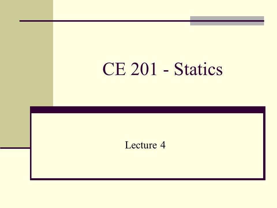 CE 201 - Statics Lecture 4