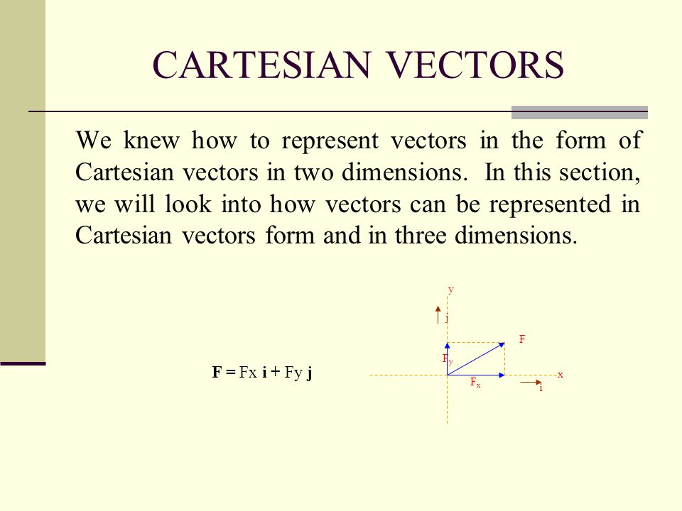 CARTESIAN VECTORS We knew how to represent vectors in the form of Cartesian vectors in two dimensions. In this section, we will look into how vectors