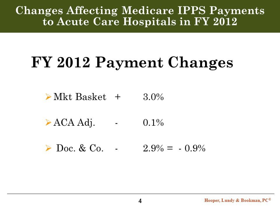 Hooper, Lundy & Bookman, PC © 4 Changes Affecting Medicare IPPS Payments to Acute Care Hospitals in FY 2012 FY 2012 Payment Changes  Mkt Basket+ 3.0%