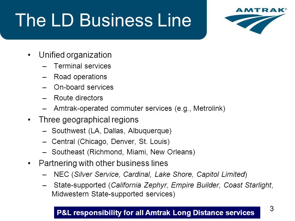 3 The LD Business Line Unified organization – Terminal services – Road operations – On-board services – Route directors – Amtrak-operated commuter ser