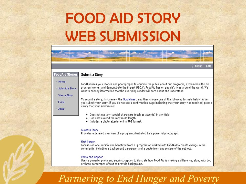 Partnering to End Hunger and Poverty FOOD AID STORY WEB SUBMISSION