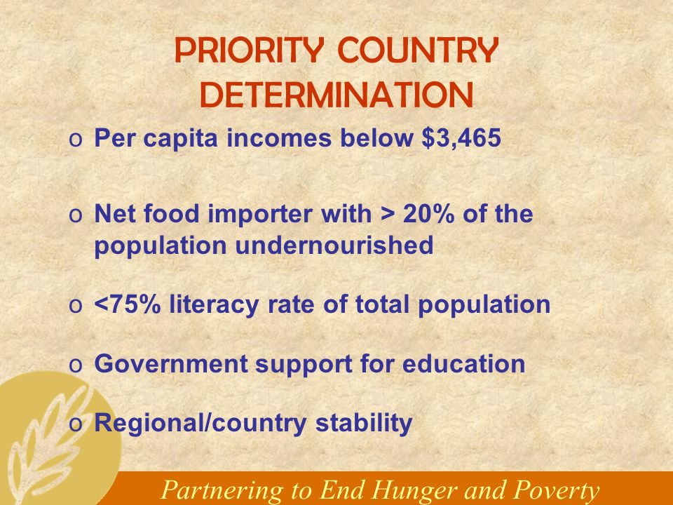 Partnering to End Hunger and Poverty PRIORITY COUNTRY DETERMINATION oPer capita incomes below $3,465 oNet food importer with > 20% of the population undernourished o<75% literacy rate of total population oGovernment support for education oRegional/country stability