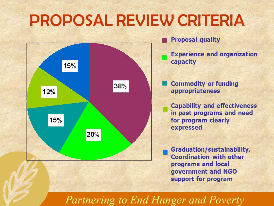 Partnering to End Hunger and Poverty PROPOSAL REVIEW CRITERIA Proposal quality Experience and organization capacity Commodity or funding appropriateness Capability and effectiveness in past programs and need for program clearly expressed Graduation/sustainability, Coordination with other programs and local government and NGO support for program