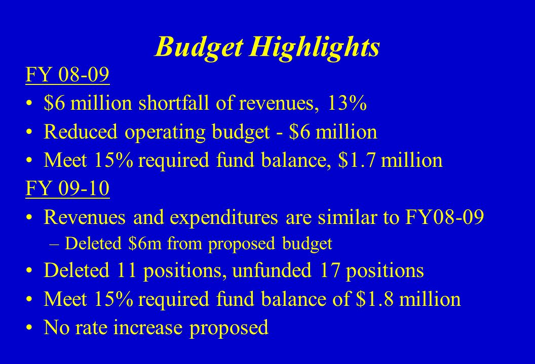 Budget Highlights FY 08-09 $6 million shortfall of revenues, 13% Reduced operating budget - $6 million Meet 15% required fund balance, $1.7 million FY 09-10 Revenues and expenditures are similar to FY08-09 –Deleted $6m from proposed budget Deleted 11 positions, unfunded 17 positions Meet 15% required fund balance of $1.8 million No rate increase proposed