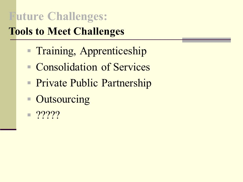 Future Challenges:  Training, Apprenticeship  Consolidation of Services  Private Public Partnership  Outsourcing  .