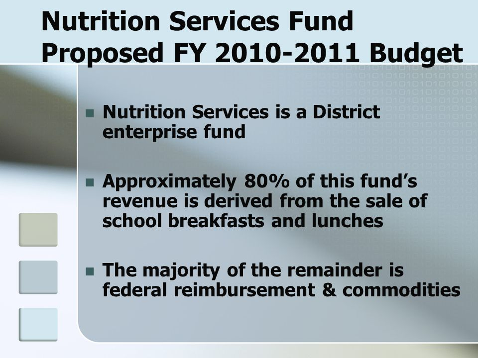 Nutrition Services Fund Proposed FY 2010-2011 Budget Nutrition Services is a District enterprise fund Approximately 80% of this fund's revenue is derived from the sale of school breakfasts and lunches The majority of the remainder is federal reimbursement & commodities