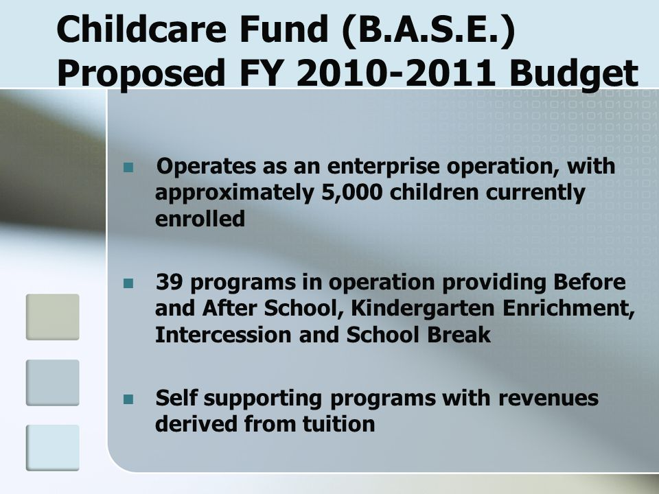 Childcare Fund (B.A.S.E.) Proposed FY 2010-2011 Budget Operates as an enterprise operation, with approximately 5,000 children currently enrolled 39 programs in operation providing Before and After School, Kindergarten Enrichment, Intercession and School Break Self supporting programs with revenues derived from tuition
