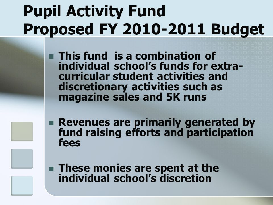 Pupil Activity Fund Proposed FY 2010-2011 Budget This fund is a combination of individual school's funds for extra- curricular student activities and discretionary activities such as magazine sales and 5K runs Revenues are primarily generated by fund raising efforts and participation fees These monies are spent at the individual school's discretion