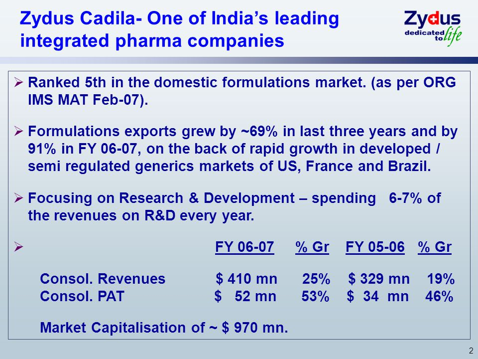 2 Zydus Cadila- One of India's leading integrated pharma companies  Ranked 5th in the domestic formulations market. (as per ORG IMS MAT Feb-07).  Fo