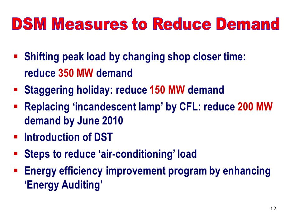 12  Shifting peak load by changing shop closer time: reduce 350 MW demand  Staggering holiday: reduce 150 MW demand  Replacing 'incandescent lamp' by CFL: reduce 200 MW demand by June 2010  Introduction of DST  Steps to reduce 'air-conditioning' load  Energy efficiency improvement program by enhancing 'Energy Auditing'