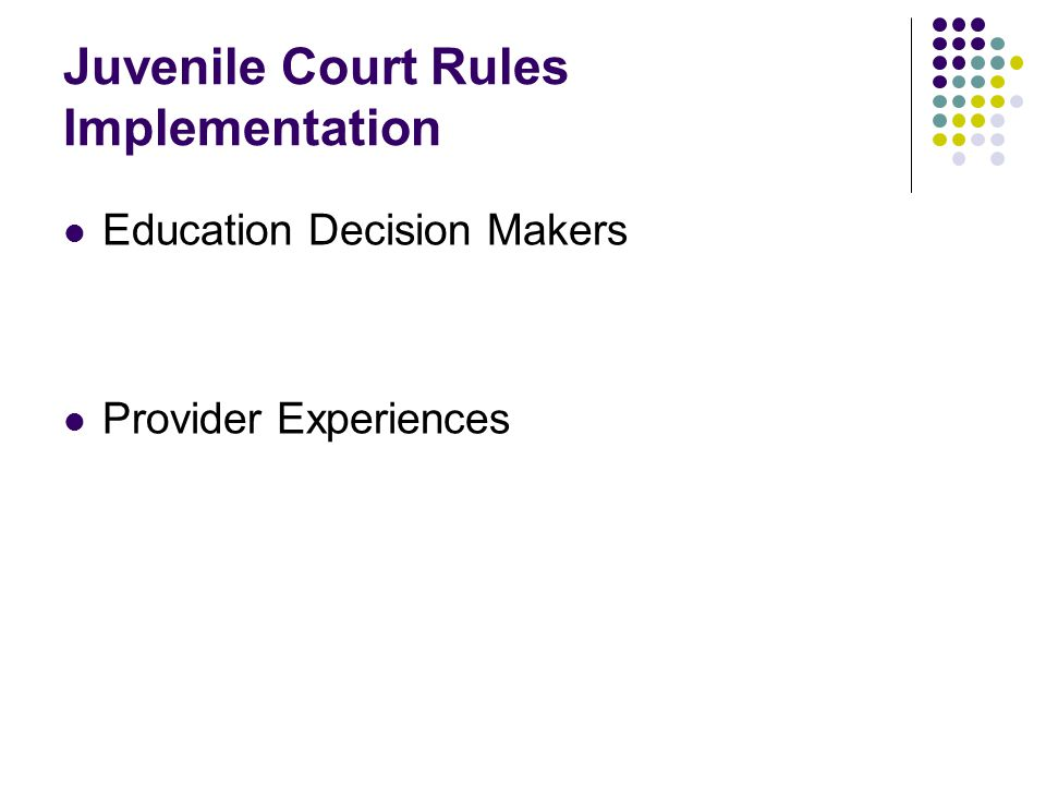 Juvenile Court Rules Implementation Education Decision Makers Provider Experiences