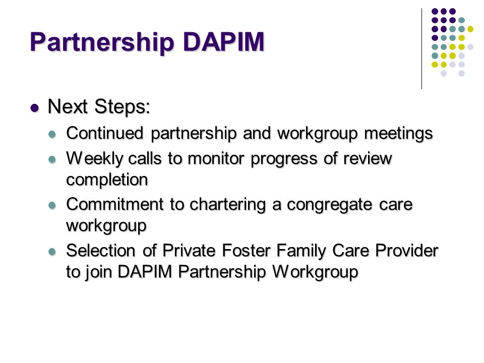 Partnership DAPIM Next Steps: Next Steps: Continued partnership and workgroup meetings Continued partnership and workgroup meetings Weekly calls to monitor progress of review completion Weekly calls to monitor progress of review completion Commitment to chartering a congregate care workgroup Commitment to chartering a congregate care workgroup Selection of Private Foster Family Care Provider to join DAPIM Partnership Workgroup Selection of Private Foster Family Care Provider to join DAPIM Partnership Workgroup