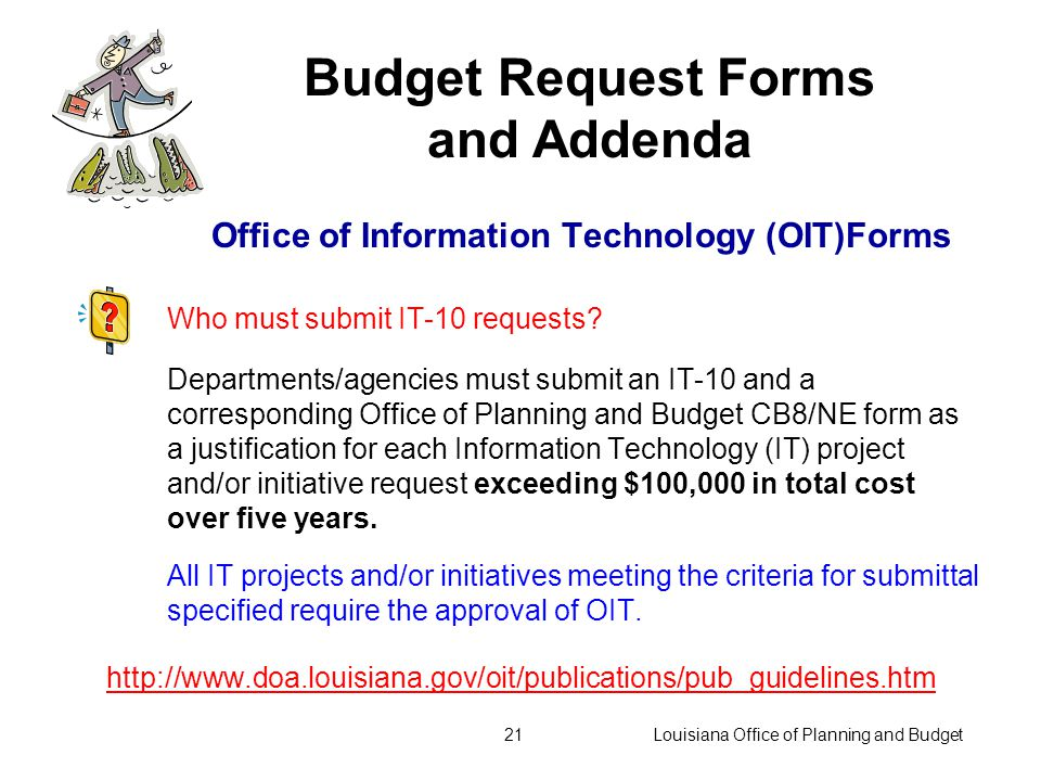 Louisiana Office of Planning and Budget20 Performance information must be provided also on: Continuation Budget Forms New or Expanded Service Forms Technical and/or Other Adjustment Package (as appropriate) Use performance indicators to describe and quantify existing services and justify workload adjustments and/or enhancements.