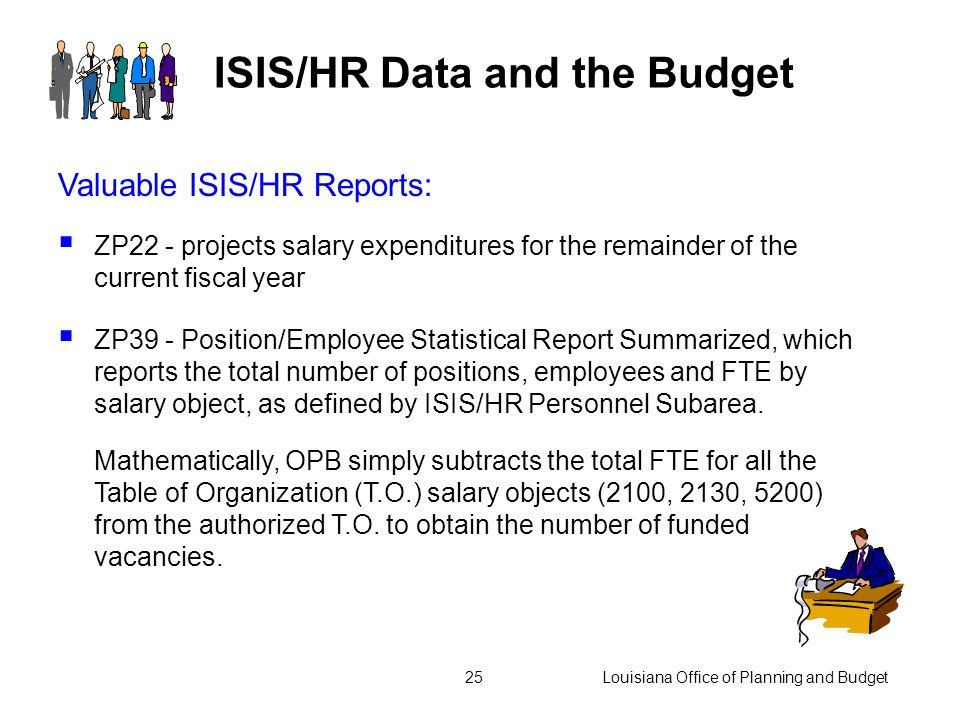Louisiana Office of Planning and Budget24 ISIS/HR Data and the Budget  Employees are a valuable resource.  Salaries and related benefits often repre