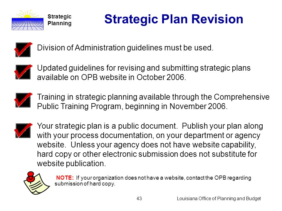 Louisiana Office of Planning and Budget42 Strategic Plan Revision Strategic Planning Revision and update move the plan into the future.