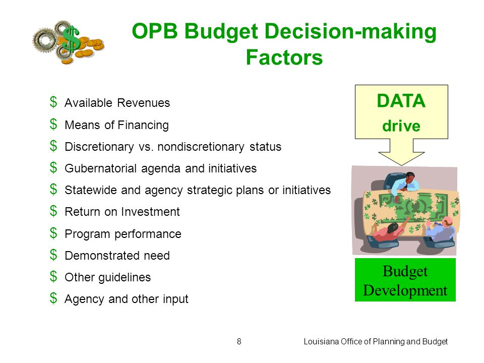 Louisiana Office of Planning and Budget8 OPB Budget Decision-making Factors $ Available Revenues $ Means of Financing $ Discretionary vs.