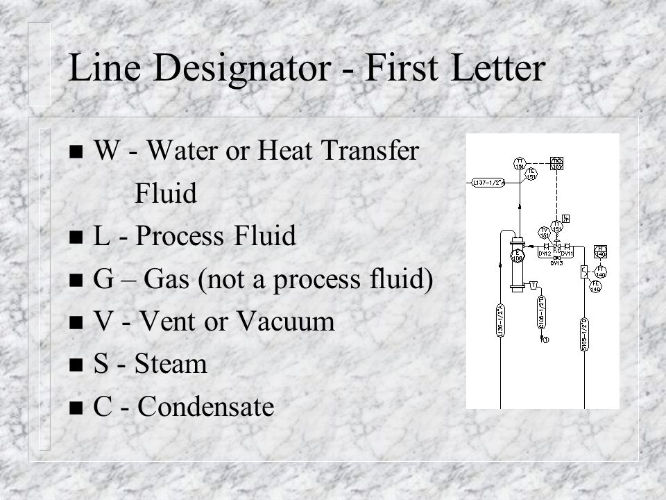 Line Designator - First Letter n W - Water or Heat Transfer Fluid n L - Process Fluid n G – Gas (not a process fluid) n V - Vent or Vacuum n S - Steam