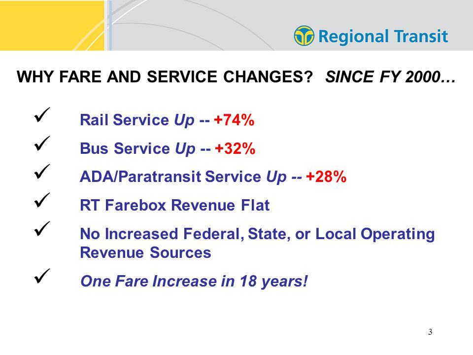 3 WHY FARE AND SERVICE CHANGES.