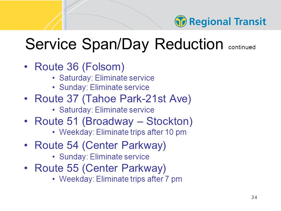 34 Service Span/Day Reduction continued Route 36 (Folsom) Saturday: Eliminate service Sunday: Eliminate service Route 37 (Tahoe Park-21st Ave) Saturday: Eliminate service Route 51 (Broadway – Stockton) Weekday: Eliminate trips after 10 pm Route 54 (Center Parkway) Sunday: Eliminate service Route 55 (Center Parkway) Weekday: Eliminate trips after 7 pm