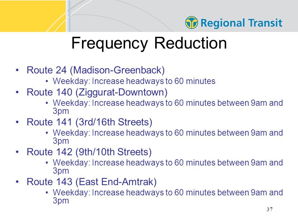 37 Frequency Reduction Route 24 (Madison-Greenback) Weekday: Increase headways to 60 minutes Route 140 (Ziggurat-Downtown) Weekday: Increase headways to 60 minutes between 9am and 3pm Route 141 (3rd/16th Streets) Weekday: Increase headways to 60 minutes between 9am and 3pm Route 142 (9th/10th Streets) Weekday: Increase headways to 60 minutes between 9am and 3pm Route 143 (East End-Amtrak) Weekday: Increase headways to 60 minutes between 9am and 3pm