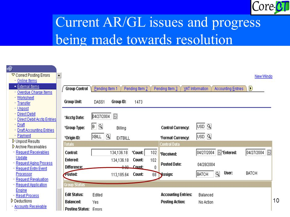 10 Current AR/GL issues and progress being made towards resolution