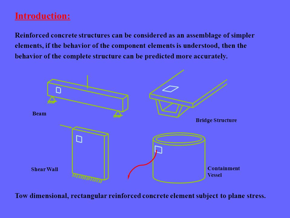 Reinforced concrete structures can be considered as an assemblage of simpler elements, if the behavior of the component elements is understood, then the behavior of the complete structure can be predicted more accurately.