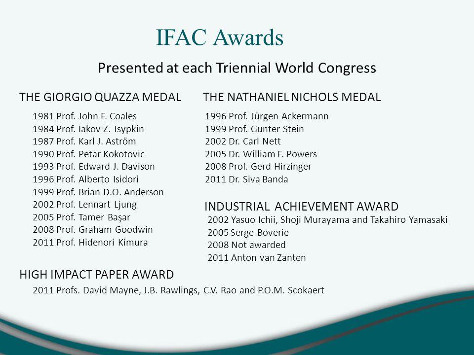 IFAC Awards Presented at each Triennial World Congress THE GIORGIO QUAZZA MEDAL 1981 Prof.