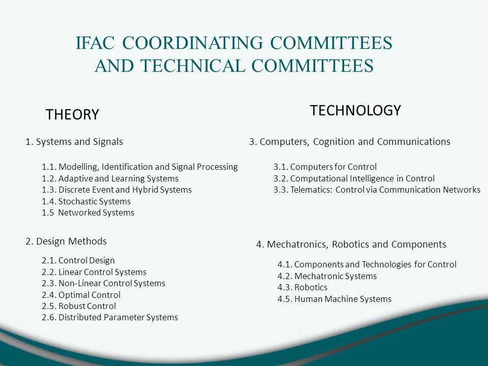 IFAC COORDINATING COMMITTEES AND TECHNICAL COMMITTEES 1.