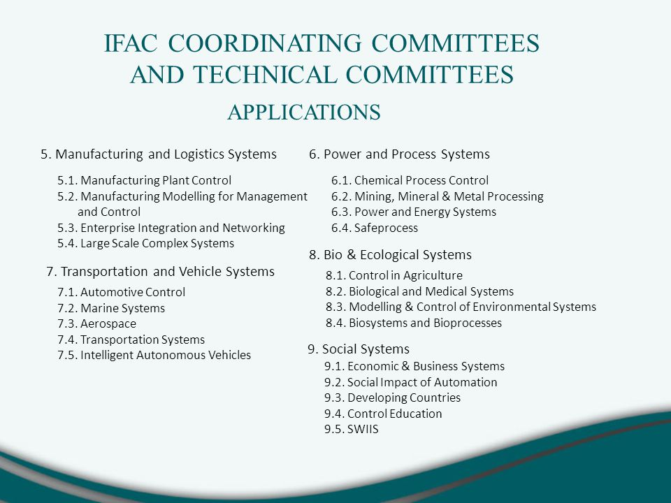 IFAC COORDINATING COMMITTEES AND TECHNICAL COMMITTEES 5.