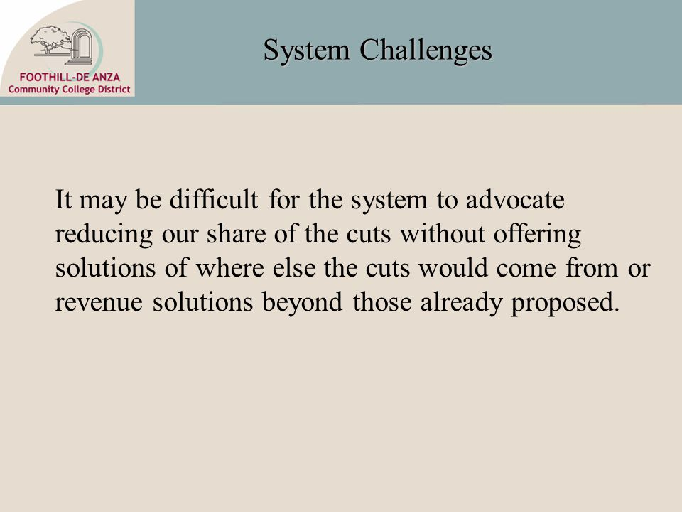 System Challenges It may be difficult for the system to advocate reducing our share of the cuts without offering solutions of where else the cuts would come from or revenue solutions beyond those already proposed.