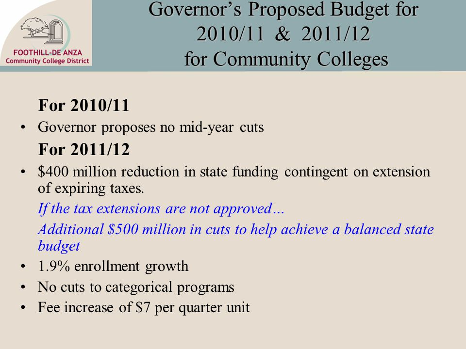 Governor's Proposed Budget for 2010/11 & 2011/12 for Community Colleges For 2010/11 Governor proposes no mid-year cuts For 2011/12 $400 million reduction in state funding contingent on extension of expiring taxes.
