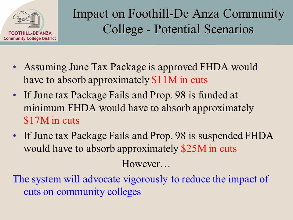 Impact on Foothill-De Anza Community College - Potential Scenarios Assuming June Tax Package is approved FHDA would have to absorb approximately $11M in cuts If June tax Package Fails and Prop.