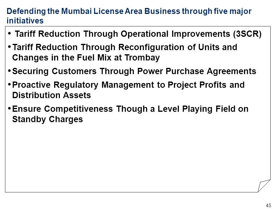 45 Defending the Mumbai License Area Business through five major initiatives Tariff Reduction Through Operational Improvements (3SCR) Tariff Reduction