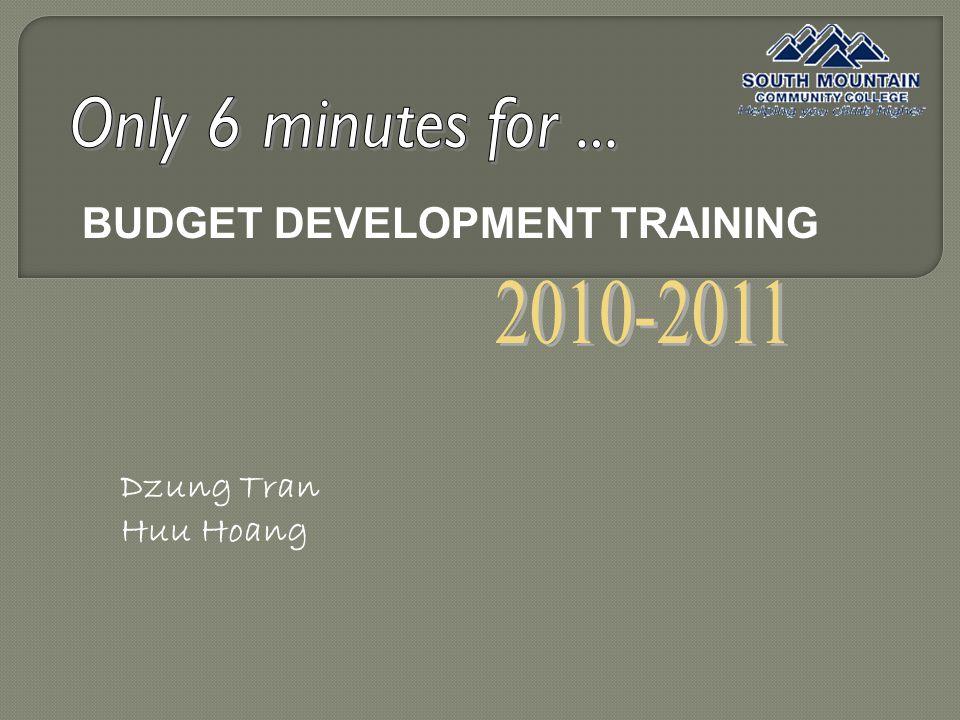BUDGET DEVELOPMENT TRAINING Dzung Tran Huu Hoang