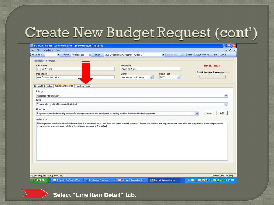 Select Line Item Detail tab.