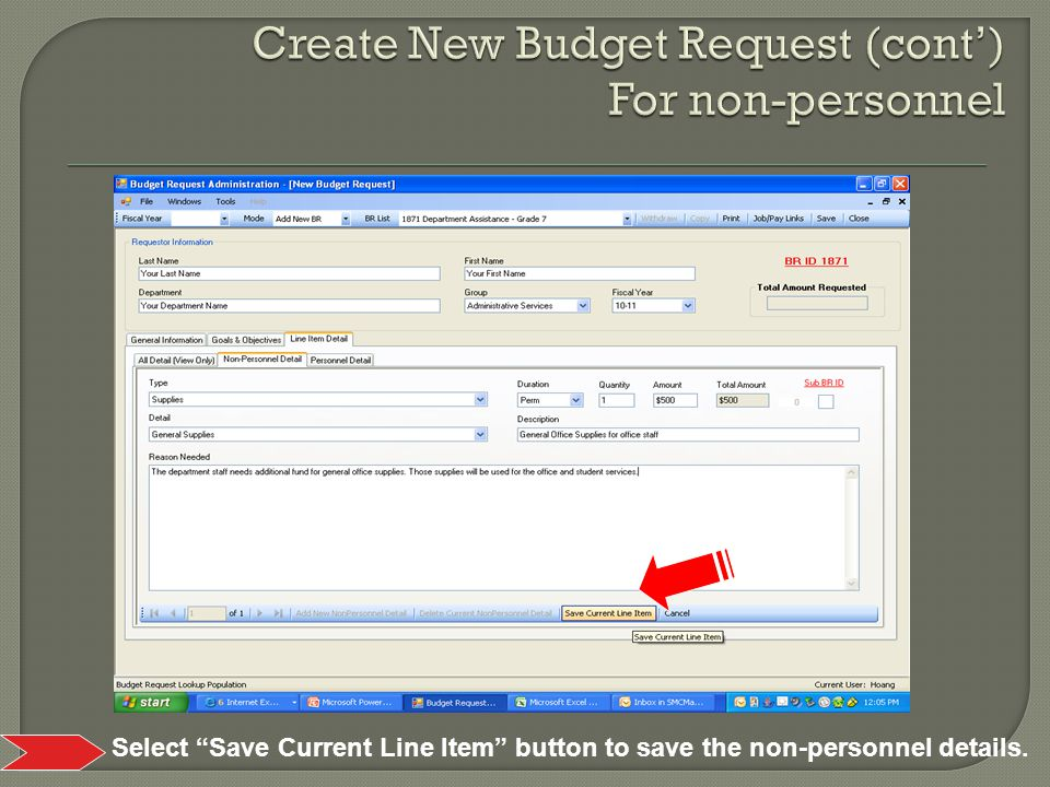 Select Save Current Line Item button to save the non-personnel details.
