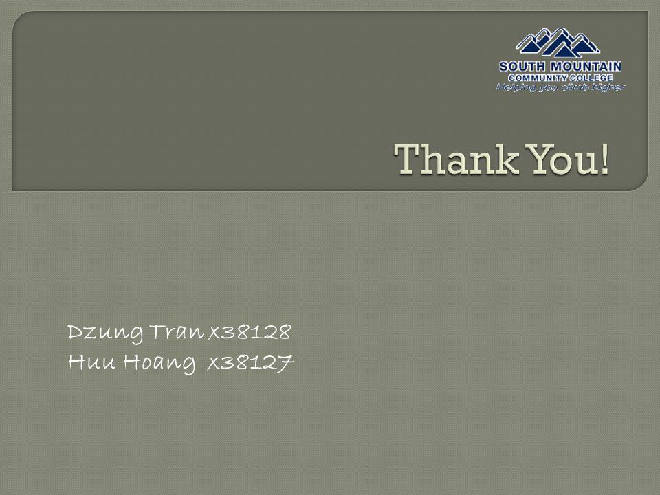 Dzung Tran x38128 Huu Hoang x38127