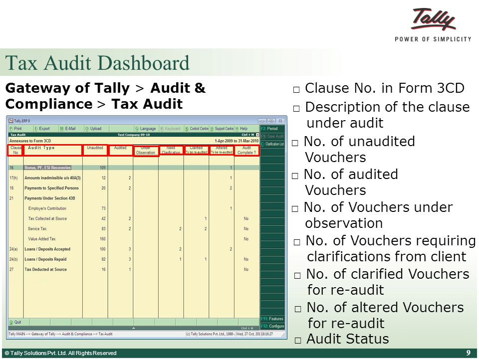 © Tally Solutions Pvt. Ltd. All Rights Reserved 9 Tax Audit Dashboard Gateway of Tally > Audit & Compliance > Tax Audit □ Clause No. in Form 3CD □ Des