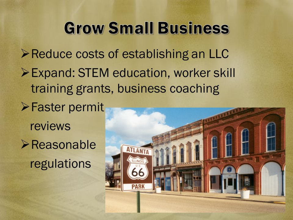  Reduce costs of establishing an LLC  Expand: STEM education, worker skill training grants, business coaching  Faster permit reviews  Reasonable r