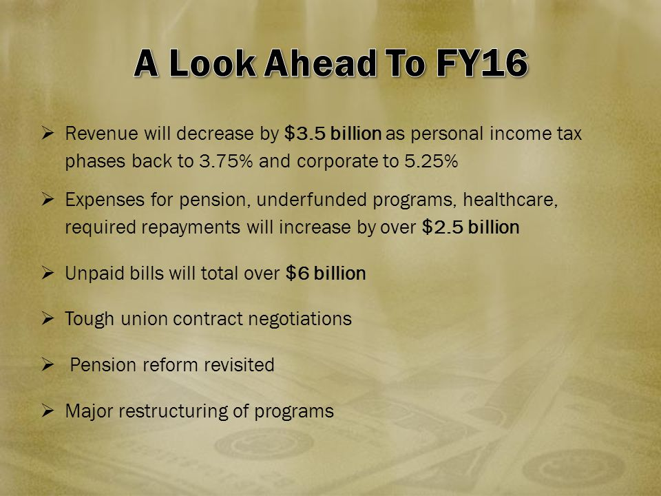  Revenue will decrease by $3.5 billion as personal income tax phases back to 3.75% and corporate to 5.25%  Expenses for pension, underfunded programs, healthcare, required repayments will increase by over $2.5 billion  Unpaid bills will total over $6 billion  Tough union contract negotiations  Pension reform revisited  Major restructuring of programs